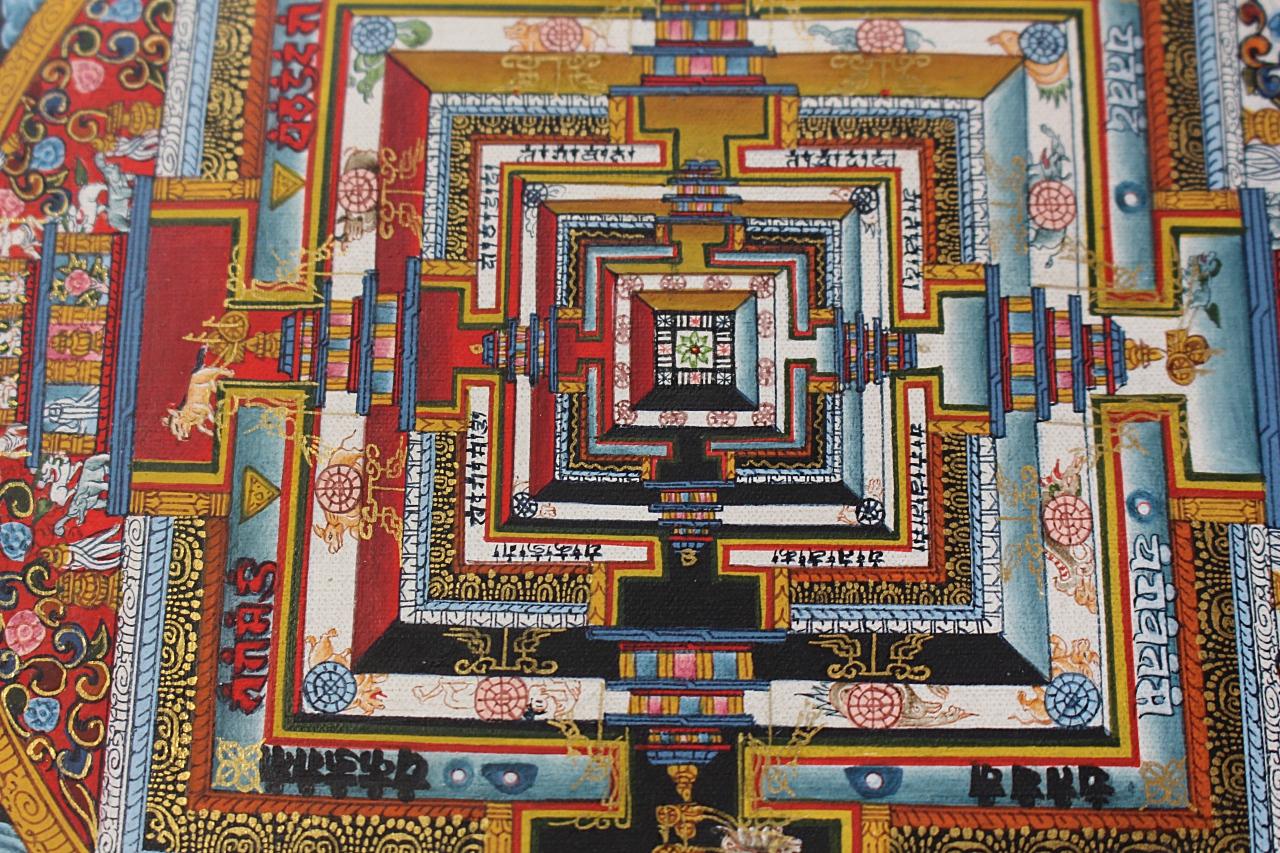 《仏画(マンダラ・タンカ)》カーラチャクラ曼荼羅 ブルー 仏画