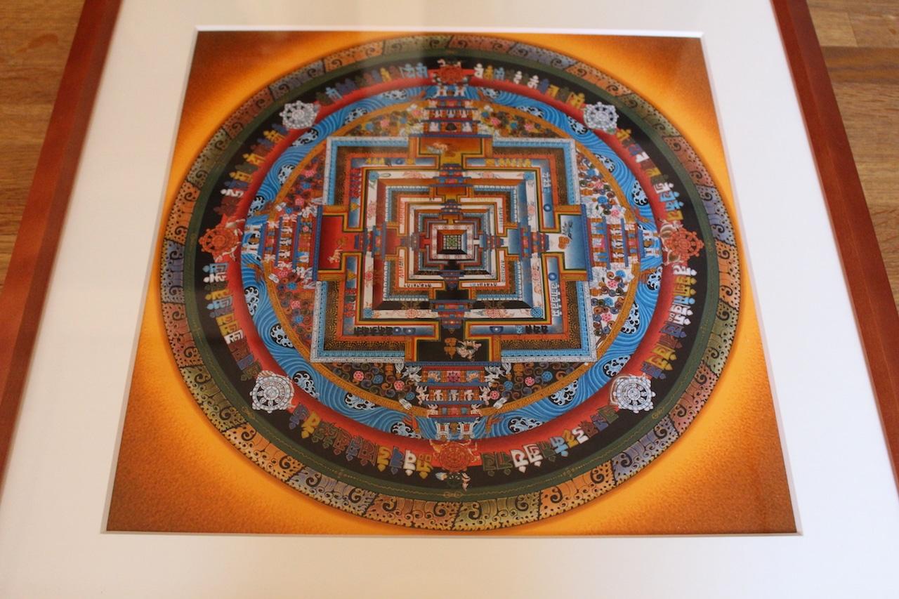 《仏画(マンダラ・タンカ)》カーラチャクラ曼荼羅 オレンジ30cm x 30cm 仏画